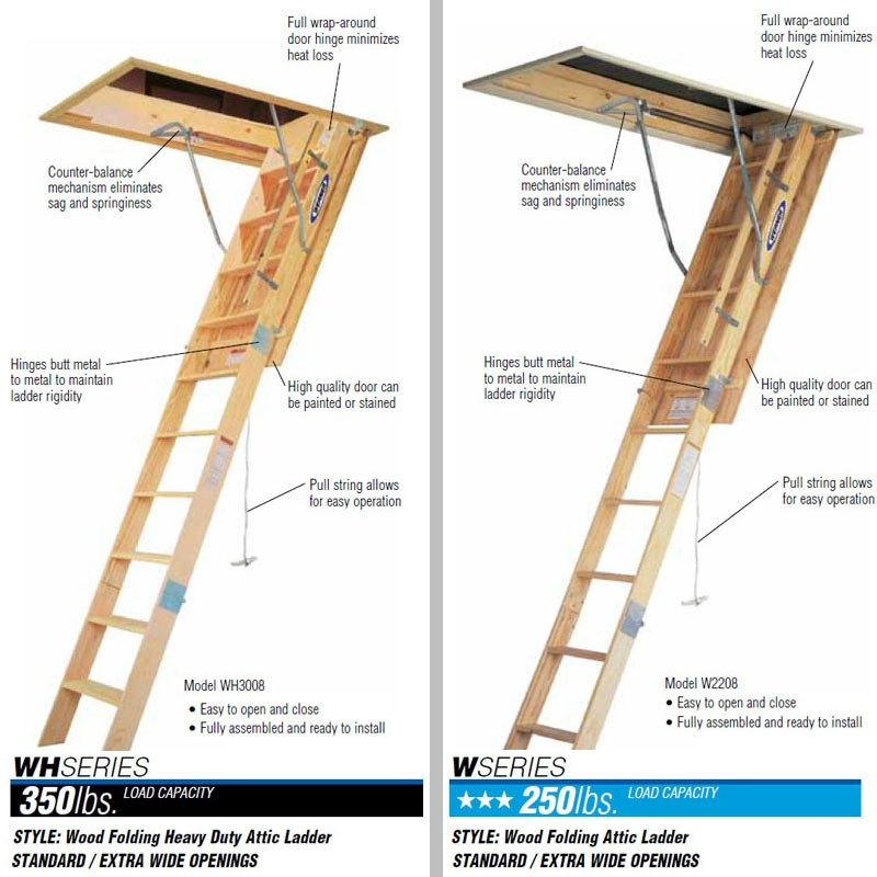 Werner Wooden Attic Ladders Ceiling Height 7 Ft To 10 Ft