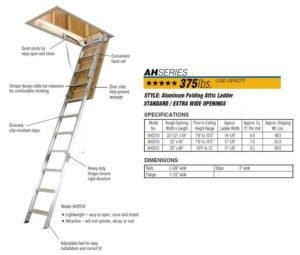 Werner Aluminum Attic Ladders Ceiling Height 7 Ft 8 In