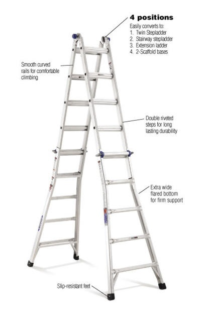 22 Ft Aluminum Telescoping Multi Position Ladder With 300