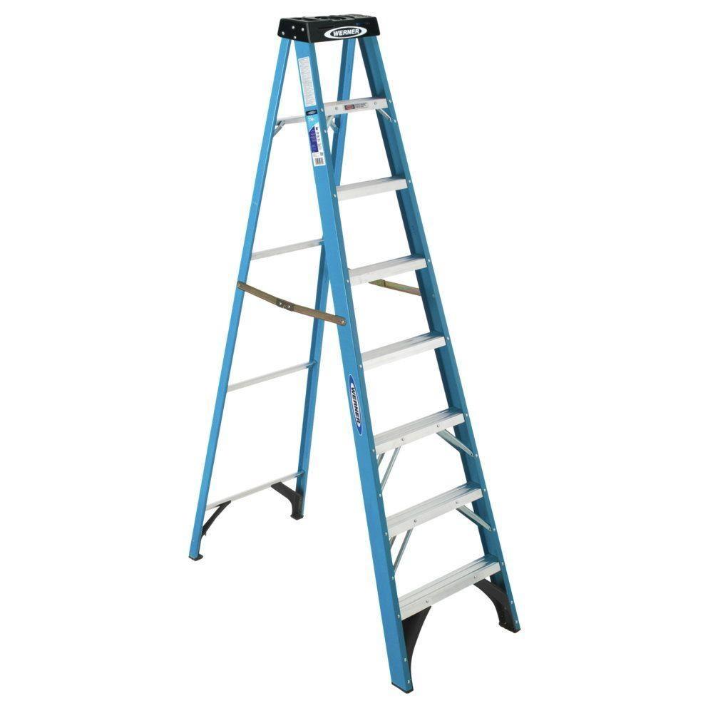 8 Ft Fiberglass Step Ladder With 250 Lb Load Capacity